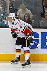 Jan 17, 2012; San Jose, CA, USA; Calgary Flames defenseman Jay Bouwmeester (4) before a face off against the San Jose Sharks during the second period at HP Pavilion. San Jose defeated Calgary 2-1 in shootouts. Mandatory Credit: Jason O. Watson-US PRESSWIRE