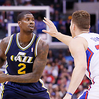01 February 2014: Utah Jazz power forward Marvin Williams (2) looks to pass over Los Angeles Clippers power forward Blake Griffin (32) during the Los Angeles Clippers 102-87 victory over the Utah Jazz at the Staples Center, Los Angeles, California, USA.