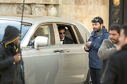 © Licensed to London News Pictures. 27/03/2015. Actor Shah Rukh Khan (left in car) and director Maneesh Sharma filming for the new Bollywood production 'FAN' at Blenheim Palace in Woodstock, Oxfordshire, UK on March 27, 2015. Shah Rukh Khan (Also known as SRK) has appeared in more than 80 Bollywood films and is considered to be one of the worlds biggest film and television stars. Photo credit: Mark Hemsworth/LNP