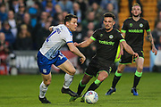 Tranmere Rovers Connor Jennings(11) and Forest Green Rovers Liam Shephard(2) during the EFL Sky Bet League 2 play off first leg match between Tranmere Rovers and Forest Green Rovers at Prenton Park, Birkenhead, England on 10 May 2019.