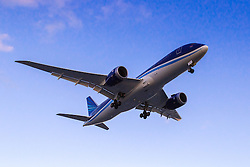 Azerbaijan Airlines  Boeing 787-800 reg.  VP-BBR lands on London Heathrow's runway 27R