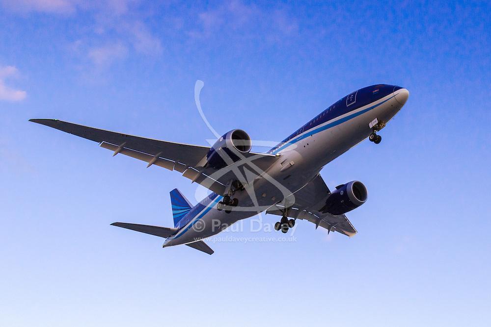 Azerbaijan Airlines  Boeing 787-800 reg.  VP-BBR lands on London Heathrow's runway 27R