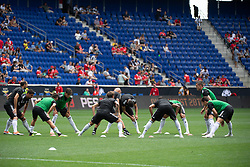 July 28, 2018 - Harrison, New Jersey, United States - Juventus players warmup before the International Champions Cup at Red Bull Arena in Harrison, NJ.  Juventes vs Benfica (Credit Image: © Mark Smith via ZUMA Wire)