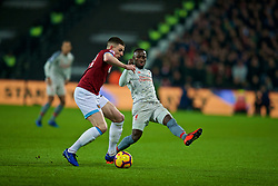 LONDON, ENGLAND - Monday, February 4, 2019: Liverpool's Naby Keita (R) and West Ham United's Declan Rice during the FA Premier League match between West Ham United FC and Liverpool FC at the London Stadium. (Pic by David Rawcliffe/Propaganda)