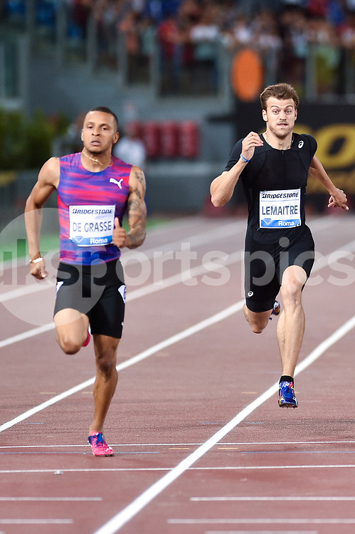 Andre de Grasse of Canada and Christophe Lemaitre of France compete in the Men's 200 m during the IAAF Diamond League Golden Gala Pietro Mennea at Stadio Olimpico, Rome, Italy on 8 June 2017. Photo by Giuseppe Maffia.