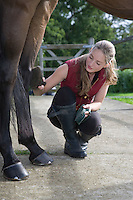 Girl grooming horse outdoors