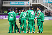 Ireland players celebrate the wicket of England captain Eoin Morgan during the One Day International match between England and Ireland at the Brightside County Ground, Bristol, United Kingdom on 5 May 2017. Photo by Andrew Lewis.