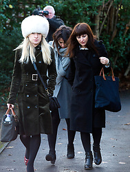 ©  London News Pictures.  20/12/2013. London, UK. Italian Sisters Elisabetta 'Lisa' (centre in grey jacket) and Francesca (right in black) Grillo, who are the former personal assistants to Charles Saatchi and Nigella  Lawson, arriving at Isleworth Crown Court in London. A jury is currently considering a verdict in the Gillo sisters trial for misappropriating funds while working for Saatchi and Lawson. Photo credit : Ben Cawthra/LNP