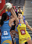 Katrina Grant defends Donna Wilkins.<br /> ANZ Championship - Steel v Pulse, 28 May 2012, The Edgar Centre, Dunedin, New Zealand.<br /> Photo: Rob Jefferies / photosport.co.nz