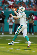 Miami Dolphins quarterback Ryan Tannehill (17) jumps off his feet as he throws a third quarter pass for a gain of 6 yards during the 2016 NFL week 5 regular season football game against the Tennessee Titans on Sunday, Oct. 9, 2016 in Miami Gardens, Fla. The Titans won the game 30-17. (©Paul Anthony Spinelli)