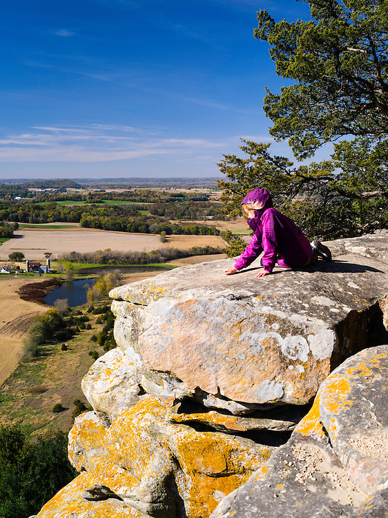 High-angle view looking down from Gibraltar Rock over the Wisconsin countryside. Autumn, 2013. Columbia County, Wisconsin.