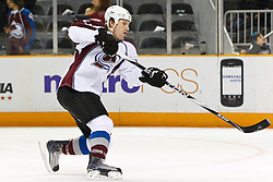 March 1, 2011; San Jose, CA, USA;  Colorado Avalanche left wing Cody McLeod (55) warms up before the game against the San Jose Sharks at HP Pavilion.  San Jose defeated Colorado 2-1 in shootouts. Mandatory Credit: Jason O. Watson / US PRESSWIRE