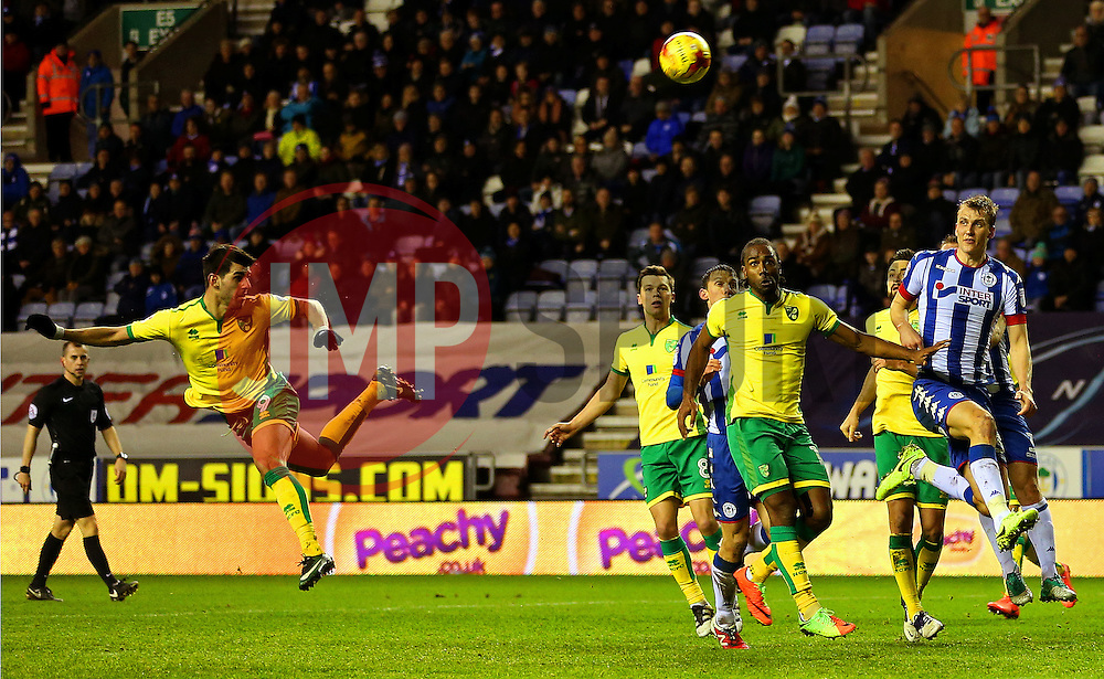 Nelson Oliveira of Norwich City scores his sides first goal with a header  - Mandatory by-line: Matt McNulty/JMP - 07/02/2017 - FOOTBALL - DW Stadium - Wigan, England - Wigan Athletic v Norwich City - Sky Bet Championship
