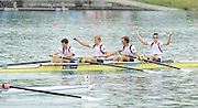 Munich, GERMANY, GBR LM4- bow. Richard CHAMBERS, Paul MATTICK, Rob WILLIAMS and Chris BARTLEY. Gold medalist men's lightweight  four 2010 FISA World Cup. Munich Olympic Rowing Course, Sunday  20/06/2010   [Mandatory Credit Peter Spurrier/ Intersport Images]