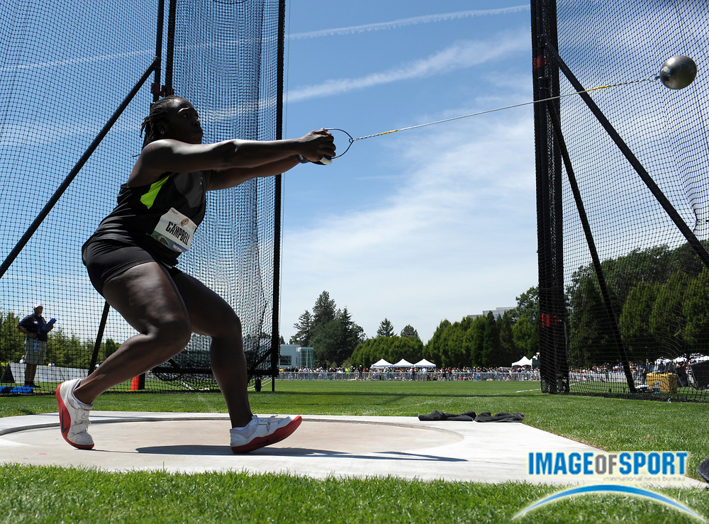 Jun 21, 2012; Beaverton, OR, USA; Amber Campbell wins the womens hammer throw at 235-6 (71.80m) in the 2012 U.S. Olympic Team Trials at the Nike World Headquarters.