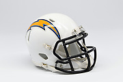 Detailed view of Los Angeles Chargers helmet.