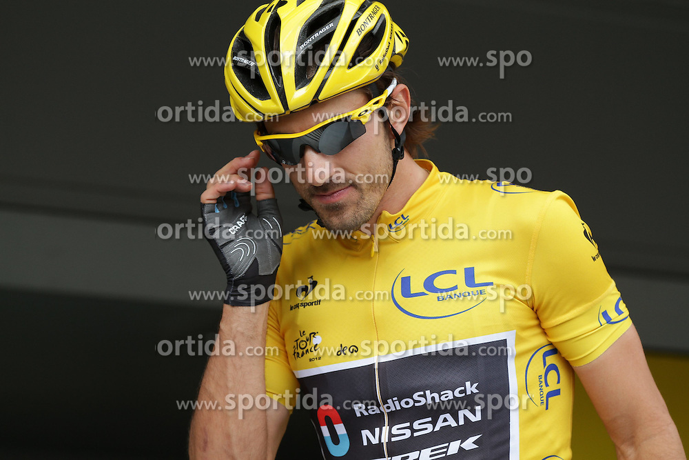 01.07.2012, Luettich, BEL, Tour de France, 1. Etappe Luettich-Seraing, im Bild CANCELLARA Fabian (RadioShack Nissan) // during the Tour de France, Stage 1, Liege-Seraing, Belgium on 2012/07/01. EXPA Pictures © 2012, PhotoCredit: EXPA/ Eibner/ Ben Majerus..***** ATTENTION - OUT OF GER *****