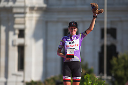 Ellen van Dijk (NED) of Team Sunweb celebrates winning the overall after Stage 2 of the Madrid Challenge - a 100.3 km road race, starting and finishing in Madrid on September 16, 2018, in Spain. (Photo by Balint Hamvas/Velofocus.com)