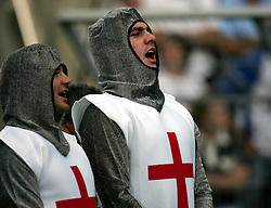 English fans sing the national anthem. England v Samoa, Nantes, France, Rugby World Cup 2007, 22nd September 2007.