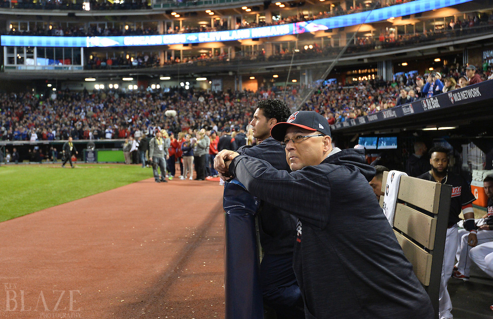 Oct 25, 2016; Cleveland, OH, USA; Cleveland Indians manager Terry Francona before game one of the 2016 World Series against the Chicago Cubs at Progressive Field. Mandatory Credit: Ken Blaze-USA TODAY Sports