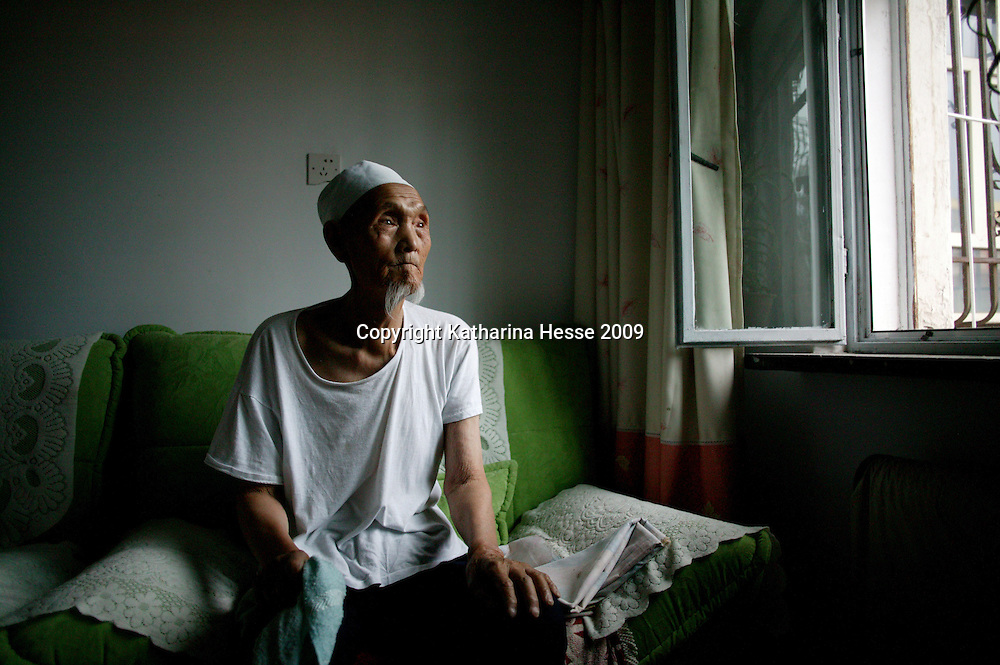 SHIHEZI,JULY-16 :Ma Xiangwu, 94, a former soldier in the defeated Nationalist Army, was one of the earliest settlers in Shihezi, arriving in 1951.<br /> <br /> ( see: http://www.nytimes.com/2009/08/07/world/asia/07xinjiang.html?_r=1&scp=10&sq=andrew%20jacobs&st=cse