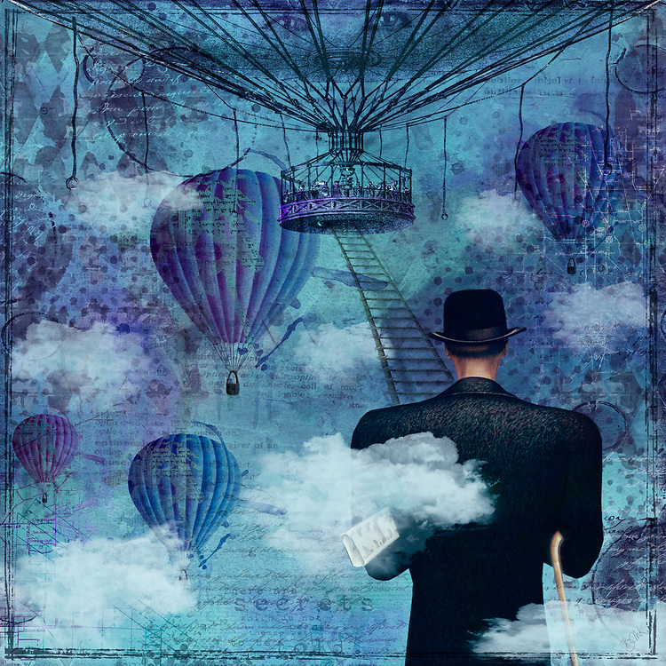 Mysterious gentleman with a hat at the bottom of a ladder leading up to a balloon on a blue and ultra violet background with clouds and balloons