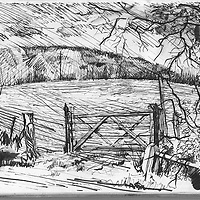 Sketchbook drawing of South Downs in West Sussex, England