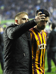A fan Reading takes a selfie with Bradford City's Alan Sheehan - Photo mandatory by-line: Dougie Allward/JMP - Mobile: 07966 386802 - 16/03/2015 - SPORT - Football - Reading - Madejski Stadium - Reading v Bradford City - FA Cup - Quarter Final - Replay
