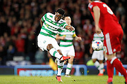 Celtic's Moussa Dembele (10) gets the shot away during the Betfred Scottish Cup  Final match between Aberdeen and Celtic at Hampden Park, Glasgow, United Kingdom on 27 November 2016. Photo by Craig Galloway.