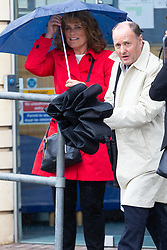 Glyndebourne Opera Director of Artistic Administration Steven Naylor  with Head of HR Veronica Brooks leave the Croydon Tribunal Service after day two of an ongoing hearing as claimant chorister Neil Williams, 48, argues Glyndebourne Opera bosses sacked him because he was too old. London, August 14 2019.