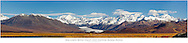 Composite panorama of Maclaren Glacier, Maclaren River Valley and Alaska Range mountains in late fall in Interior Alaska. Morning.