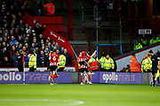 John Lundstram of Sheffield United Celebrates scoring a goal to make it 1-0 during the Premier League match between Sheffield United and Burnley at Bramall Lane, Sheffield, England on 2 November 2019.