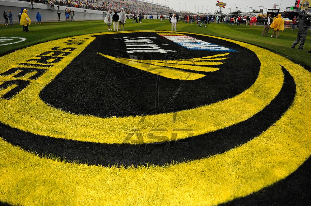 Daytona Beach, FL - FEB 26, 2012:  The NASCAR Sprint Cup Series teams take to the track for the Daytona 500 race at the Daytona International Speedway in Daytona Beach, FL.