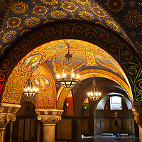 Brightly colored tile mosaics adorn the walls of the Karadjordje family crypt in Saint George's Church on Oplenac hill, Topola, Serbia.