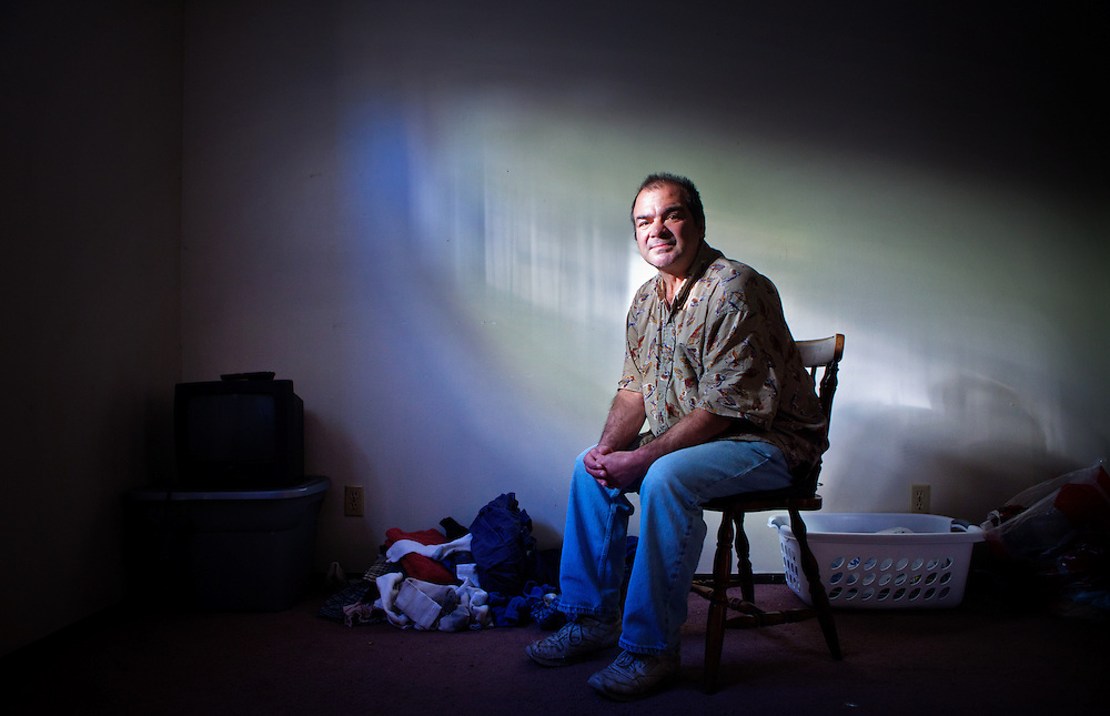 "After saying no for years to outreach workers who tried to coax him to live in an apartment rent-free, Omahan Mark Rettele, 52, finally agreed to give up living on the streets and sleeping on a concrete ledge under a bridge. Rettele sees the national program Housing First as a good start at a second chance in his often troubled life. ""It's warm,"" he said of his apartment. ""It's my own place."" 