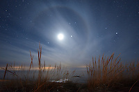 A lunar halo appears briefly over Lake Michigan near Empire.