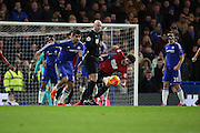 Chelsea striker Diego Costa with a break away just before half time during the Barclays Premier League match between Chelsea and West Bromwich Albion at Stamford Bridge, London, England on 13 January 2016. Photo by Matthew Redman.