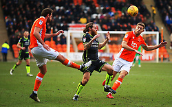 Clark Robertson of Blackpool clears under pressure from Stuart Sinclair of Bristol Rovers - Mandatory by-line: Matt McNulty/JMP - 13/01/2018 - FOOTBALL - Bloomfield Road - Blackpool, England - Blackpool v Bristol Rovers - Sky Bet League One