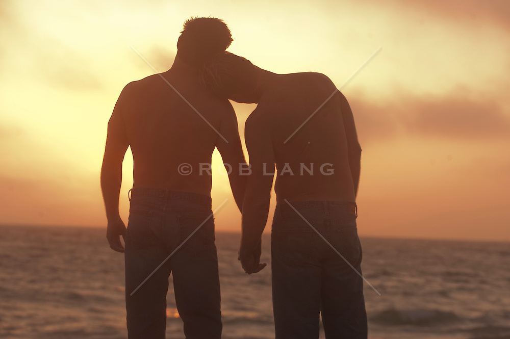 Two men holding hands and watching a sunset