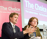 Tristram Hunt MP, Labour's Shadow Secretary of State for Education delivers a speech as part of Labour's summer campaign on The Choice facing the country between Labour and the Conservatives on education at Microsoft, London, Great Britain  18th August 2014. Pictured with John Blake Labour Teachers editor.<br /> <br /> Image ©Licensed to Elliott Franks Photography Services. 18/08/2014. London, United Kingdom. Tristram Hunt Speech. Microsoft Victoria. Picture by Elliott Franks