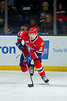 KELOWNA, BC - MARCH 13:  Bobby Russell #21 of the Spokane Chiefs skates with the puck against the Kelowna Rockets at Prospera Place on March 13, 2019 in Kelowna, Canada. (Photo by Marissa Baecker/Getty Images)