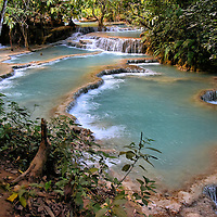 Downstream Falls and Pools at Kuang Si Falls near Luang Prabang, Laos <br />