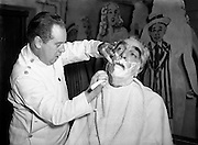 "Mr Noel Purcell having his beard removed for Pantomime - Special for Radio Review.23/12/1955..Noel Purcell (23 December 1900 - 3 March 1985) was an Irish film and television actor...Purcell began his show business career at the age of 12 in Dublin's Gaiety Theatre. Later, he toured Ireland in a vaudeville act with Jimmy O'Dea..Stage-trained in the classics in Dublin, Purcell moved into films in 1934. He appeared in Captain Boycott (1947) and as the elderly sailor whose death marooned the lovers-to-be in the first sound film version of The Blue Lagoon (1949). Purcell played a member of Captain Ahab's crew in Moby Dick (1956), a gameskeeper in The List of Adrian Messenger (1963), and a barman in The Mackintosh Man (1973), all films directed by John Huston..In 1955, he was an off-and-on regular on the British filmed TV series The Buccaneers (released to American TV in 1956), and Purcell narrated a Hibernian documentary, Seven Wonders of Ireland (1959). In 1962, he portrayed the lusty William McCoy in Lewis Milestone's Mutiny on the Bounty. .Purcell also gained some recognition as a singer. Shortly after World War II, songwriter Leo Maguire composed ""The Dublin Saunter"" for him. He performed the song live for many years and later recorded it for the Glenside label. However, the recording was not a hit. As Purcell recalled many years later, ""I don't think one person in the world bought it."" In 1981, he recorded a spoken word version of Pete St. John's ""Dublin in the Rare Old Times""..In June 1984, Purcell was given the Freedom of the City of Dublin. Nine months later, he died in his native city at the age of 84.."