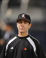 Louisville coach Dan McDonnell, who was an assistant coach at Ole Miss under Mike Bianco, at Oxford-University Stadium on Thursday, March 11, 2010. Louisville faces Ole Miss in a three-game series beginning Friday, March 12, 2010.