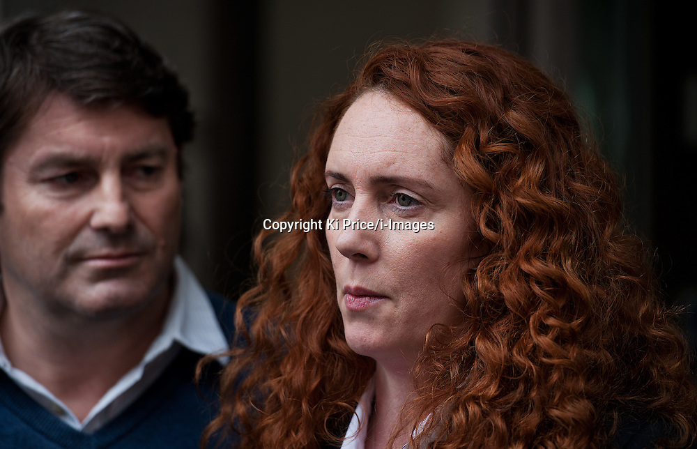 Former News International Chief ex Rebekah Brooks & husband Charlie Brook give a statement to press outside their solicitors office in Clarkenwell, London,  after  both being charged with crimes related to phone hacking earlier today. Tuesday May 15, 2012. Photo By Ki Price/i-Images