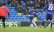 Cardiff City midfielder, Anthony Pilkington (13) scores to make it 2-0 during the Sky Bet Championship match between Cardiff City and Brighton and Hove Albion at the Cardiff City Stadium, Cardiff, Wales on 20 February 2016.