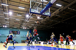 Panos Mayindombe of Bristol Flyers leaps for the basket - Mandatory by-line: Robbie Stephenson/JMP - 05/10/2018 - BASKETBALL - University of Worcester Arena - Worcester, England - Bristol Flyers v Worcester Wolves - British Basketball League