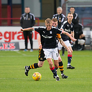 Dundee&rsquo;s Max Anderson goes away from Alloa Athletic's Jon Robertson  - Dundee under 20s v Alloa Athletic in the Irn Bru Cup Round 1 at Dens Park, Dundee - photograph by David Young<br /> <br />  - &copy; David Young - www.davidyoungphoto.co.uk - email: davidyoungphoto@gmail.com