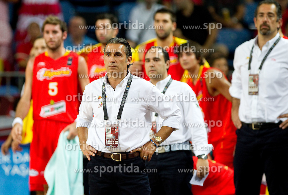 Head coach of Spain Sergio Scariolo during  the quarter-final basketball match between National teams of Serbia and Spain at 2010 FIBA World Championships on September 8, 2010 at the Sinan Erdem Dome in Istanbul, Turkey. (Photo By Vid Ponikvar / Sportida.com)