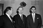 15/01/1962<br /> 01/15/1962<br /> 15 January 1962<br /> Mr Samuel C. Johnson, Press Conference at the Gresham Hotel, Dublin. Mr Samuel C. Johnson, (centre) Vice President of S.C. Johnson and Son Inc. (Johnson's Wax International) was visiting Ireland as one of the three principal speakers in the Second National Export Conference held in Dublin. Also in the image are: Mr Peter E. Greville, Marketing Director, Goodbodys Ltd. and Mr R.M. Spinks, District co-ordinator (Europe,Africa and Near East) Johnson's Wax International.